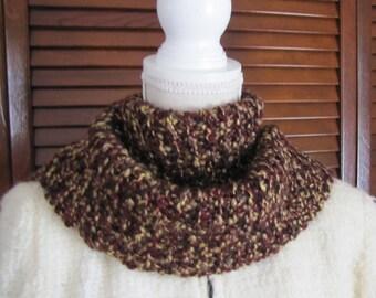 Knit Scarf, Chunky knit scarf, Infinity scarf, Brown knit scarf, Hand knitted scarf, Knit scarf with pin, Soft knit scarf, Long knit scarf