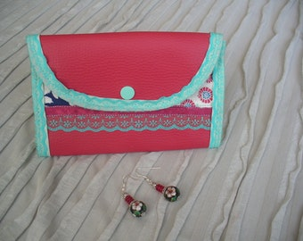 woman leather jewelry pouch raspberry fabric birds, Red satin ribbon and turquoise lace
