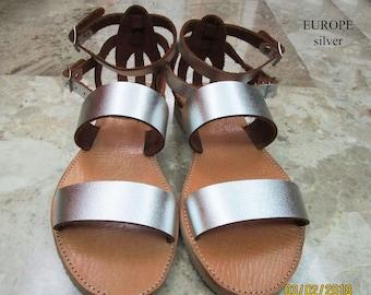 Sandals Women's,Women's Sandals,Handmade Leather Sandals,ασήμι σανδάλια,Strappy Sandals,σανδάλια πάρτυ,Beach,ARXAIKO,Classic sandals EUROPE