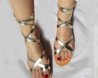 Leder Sandale Römer Römersandale Riemchen Kreta Natur Beige Schließe Silber 44