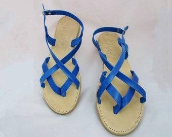 cf5f61675f05 Women s elegance blue leather Sandals