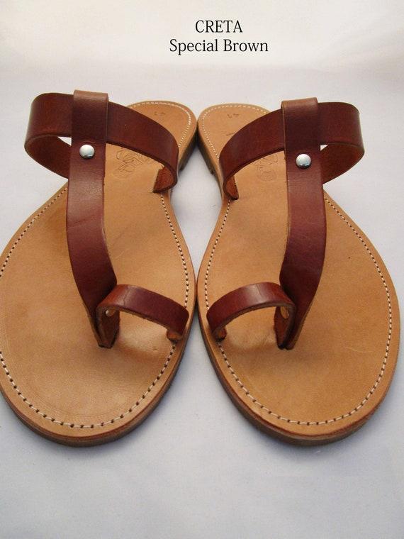 ae5516a83de9 Flip flop Greek leather brown sandals for women