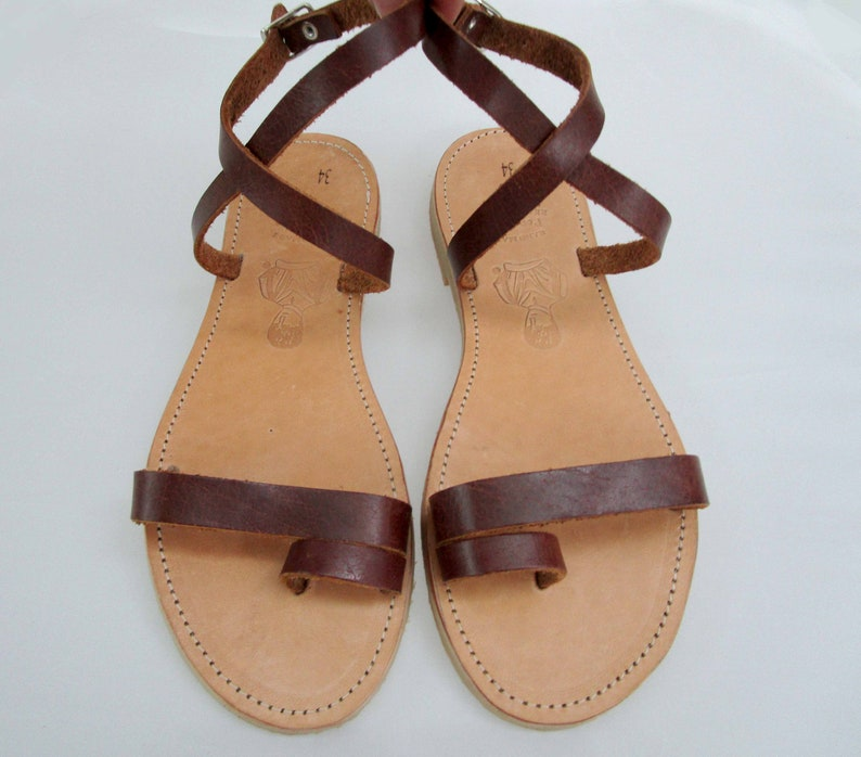 IFIGENIA ancient Greek leather sandals brown sandals handmade sandals strappy sandals natural beige sandals toe ring sandals