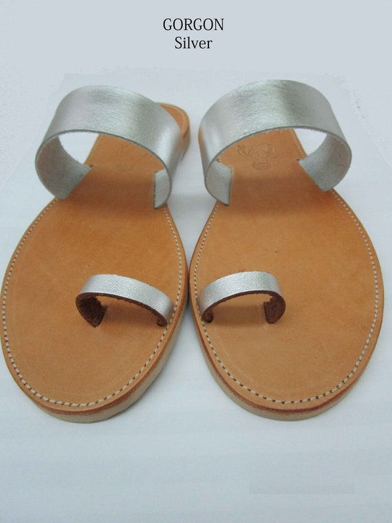GORGON handmade leather sandals ancient grecian sandals toe ring sandals classic leather sandals greek sandals silver sandals