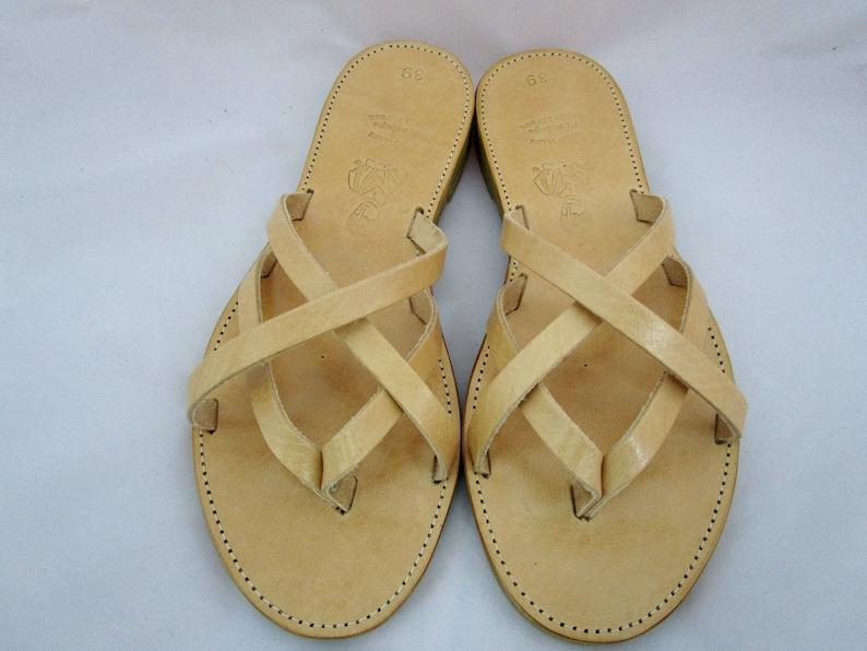 Greek leather sandals Genuine Leather slides Natural color leather sandals Ancient grecian sandal Naxos sandals Women/'s leather sandals