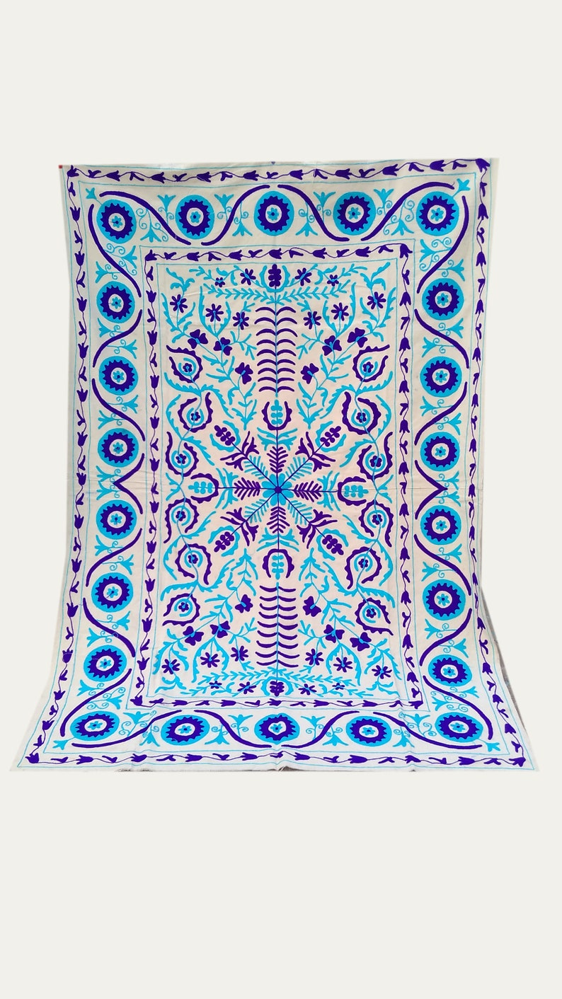 Bohemian Suzani handmade Tablecloth,Wall hanging,Bedspread,Bedcover.Colorful Sofa Throw Tapestry Embroidered Knitted queen bedsheet Ethnic