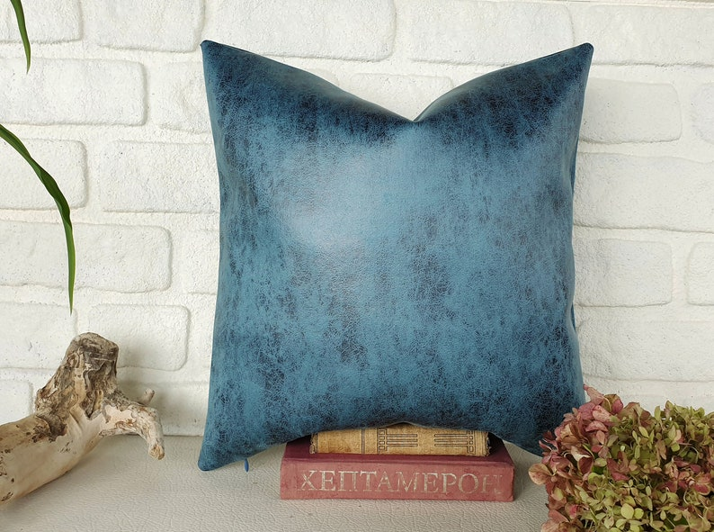 Rustic light blue color thick  faux leather look fabric pillow image 0