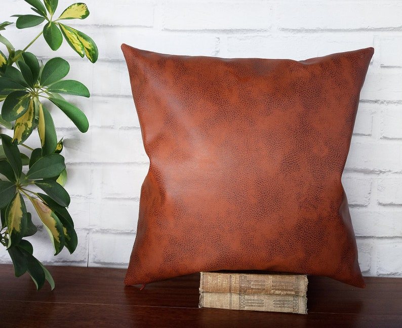 Cognac color thick  faux leather pillow cover-old look image 0