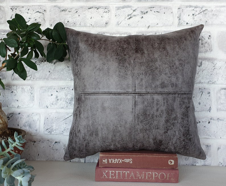Rustic gray  color thick  faux leather look fabric pillow image 0