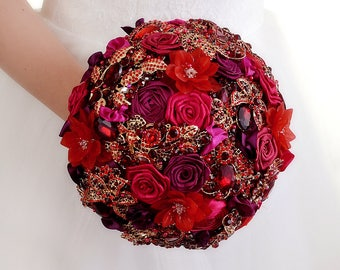 Bridal Ruby Bouquet Red Wedding Bouquet Red Brooch Bouquet Wedding Dress Wedding Jewelry For Brides Bouquet Flowers Wedding Ring Red Bouquet