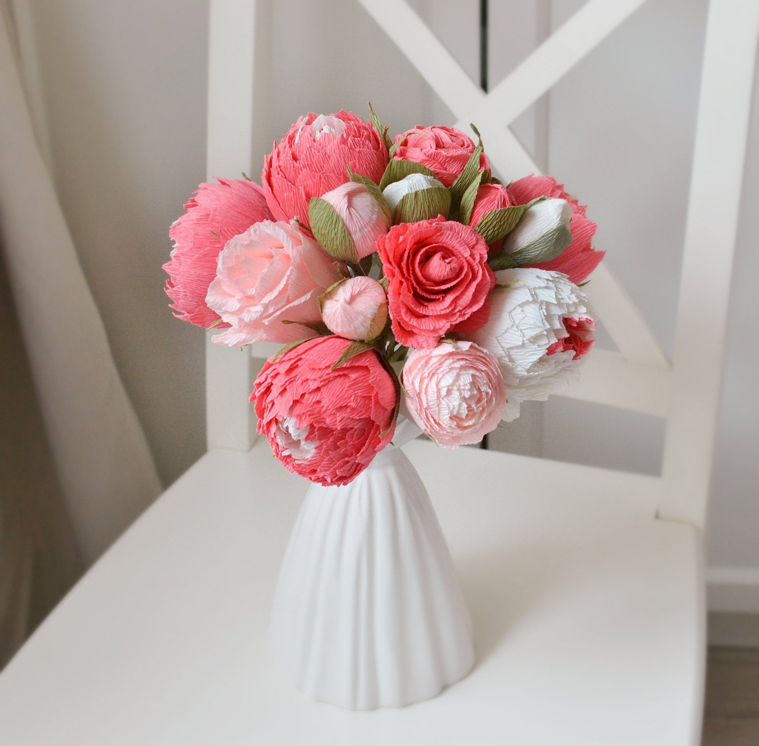 15 pcs Wedding Paper Peonies Coral Home Decor Pink Flowers
