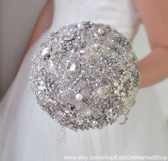 Argent Large Fleur Nuptiale Broche Strass Cristal Strass Mariage Broche FQ