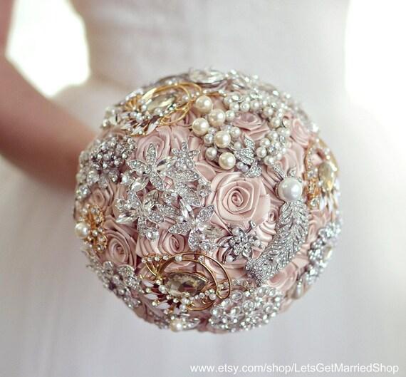 Champagne Bridal Brooch Bouquet Pearl Beige Wedding Flowers Etsy