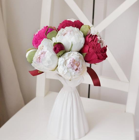 12 Stuck Burgund Blumen Pfingstrosen Rot Weiss Hochzeit Etsy