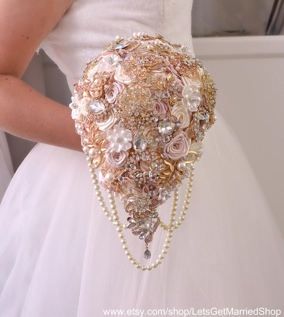 White And Gold Wedding Flowers: Rose Gold Wedding Bouquet Blush Pink Brooch Bouquet