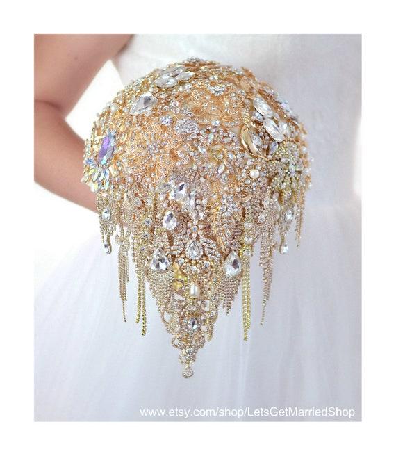 Gold Brooch Bouquet Jewelry Wedding Bling Bridal Bouquet Sun Etsy