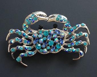 Vintage 80/'s Enamelled Crab Brooch Pin Badge Amazing Detail Steampunk Costume