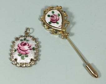 Vintage rose guiloche pendant & stick pin