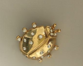 Adorable Vintage Signed Ladybug brooch .