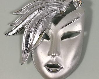 Vintage  Lady Face Mask Brooch
