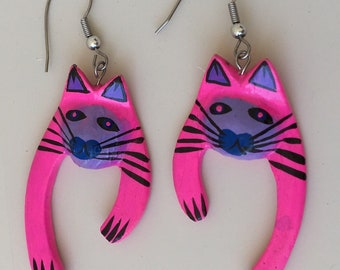 Vintage hand painted Cat Earrings