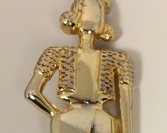 Vintage signed M.Jent Art Deco Style Lady Brooch .
