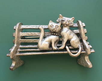 Adorable Vintage signed AJC Figural two Cats on a park bench brooch