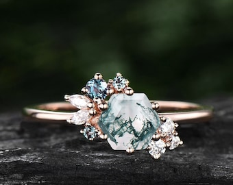 Hexagon cut moss agate ring gold silver vintage unique engagement ring culster Alexandrite  ring art deco moissanite promise ring for women