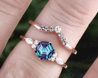 Hexagon Alexandrite ring for women vintage Alexandrite engagement ring set rose gold silver dainty ring art deco moissanite wedding ring set