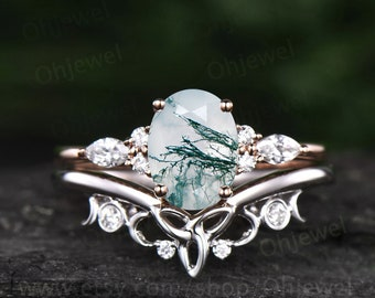 Unique bridal ring set oval cut moss agate engagement ring set vintage moissanite ring set white gold women cluster marquise ring jewelry
