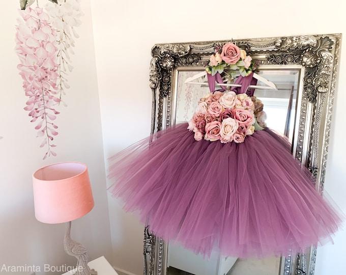 Girls IRIS flower tutu dress, flower bodice tutu dress, mauve dusty pink flower tutu dress.Fairy tutu costume. Bridesmaid & flowergirl dress