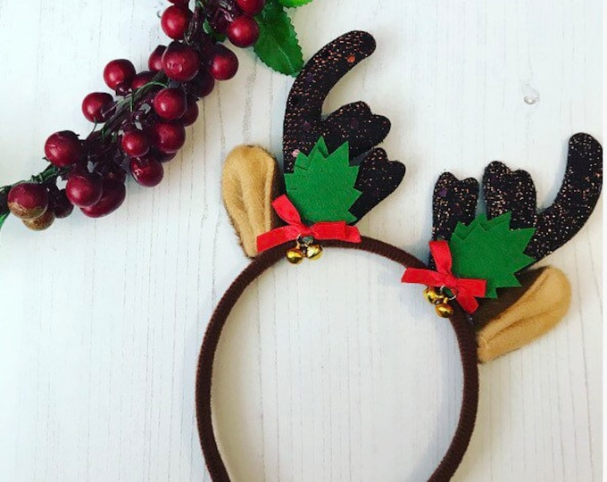 Christmas Reindeer Headband with Red Bows and Mini Jingle Bells. Unicorn Headband, Tutu Accessories, Christmas Party