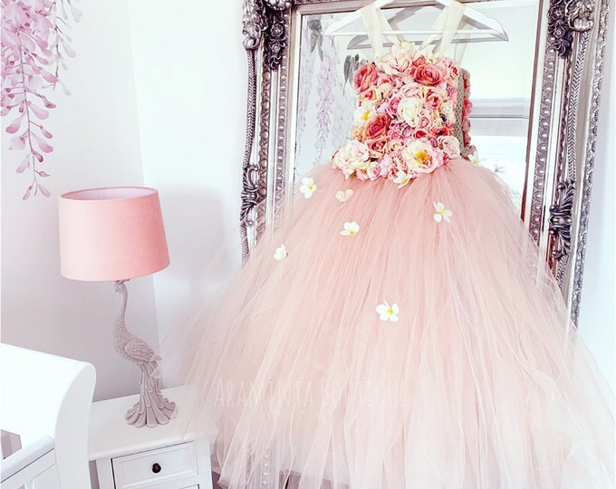 Girls BLOSSOM flowergirl tutu dress, Unicorn tutu dress, peach flower tutu dress.Fairy tutu costume. Bridesmaid,Birthday tutu, princess tutu
