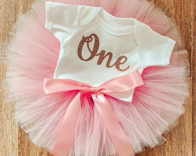 Baby pink cakesmash tutu set, first birthday tutu skirt and romper set, first birthday outfit, photoshoot costume