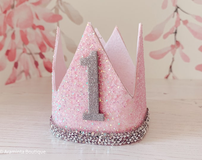 Birthday crown, cakesmash hat, first birthday crown, party hat, glitter rhinestone crown tiara