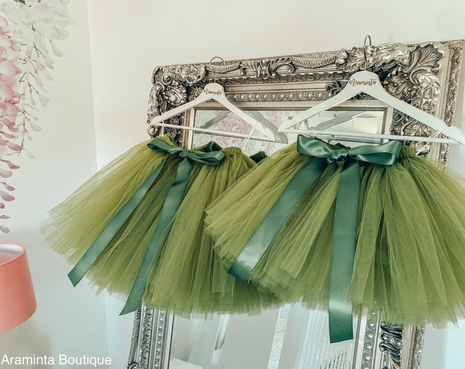 Girls olive sage green tutu, tutu skirt, flowergirl tutu, bridesmaid tutu, wedding tutu, birthday tutu, cakesmash tutu