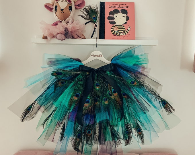 Peacock feather tutu high low skirt, peacock costume outfit, green, teal, purple and black tulle skirt