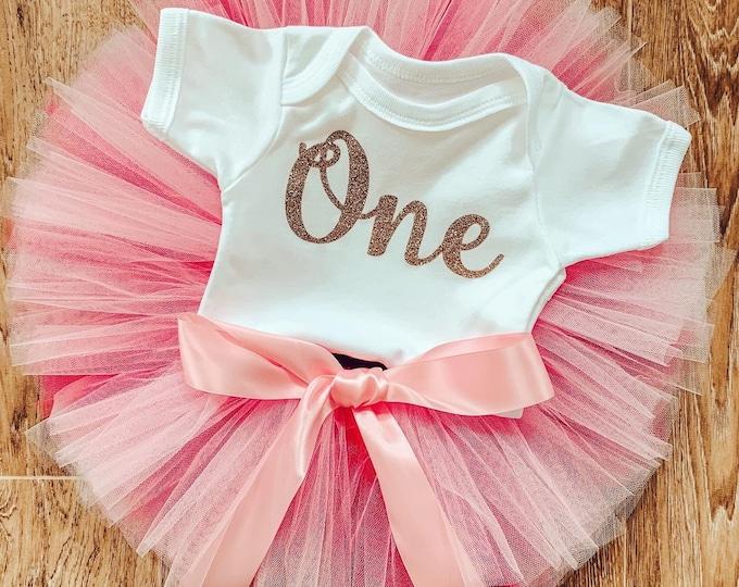 Pink ombré cakesmash tutu set, first birthday tutu skirt and romper set, first birthday outfit, photoshoot costume