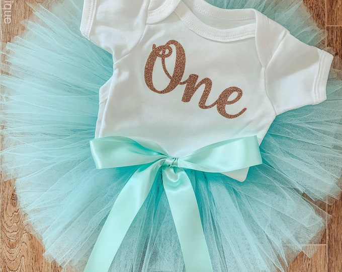 Mint green tutu set, first birthday tutu skirt and romper set, first birthday outfit, photoshoot costume
