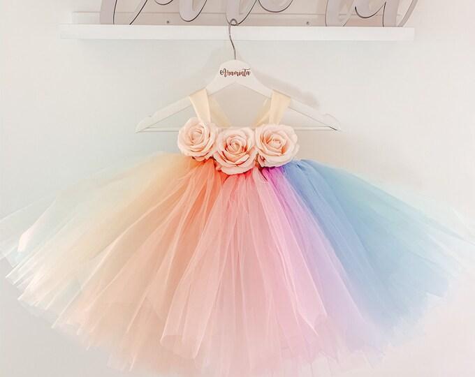 RAINBOW unicorn tutu dress, unicorn party dress, fairy tutu dress, unicorn theme, flowergirl tutu dress, unicorn costume, rainbow tutu