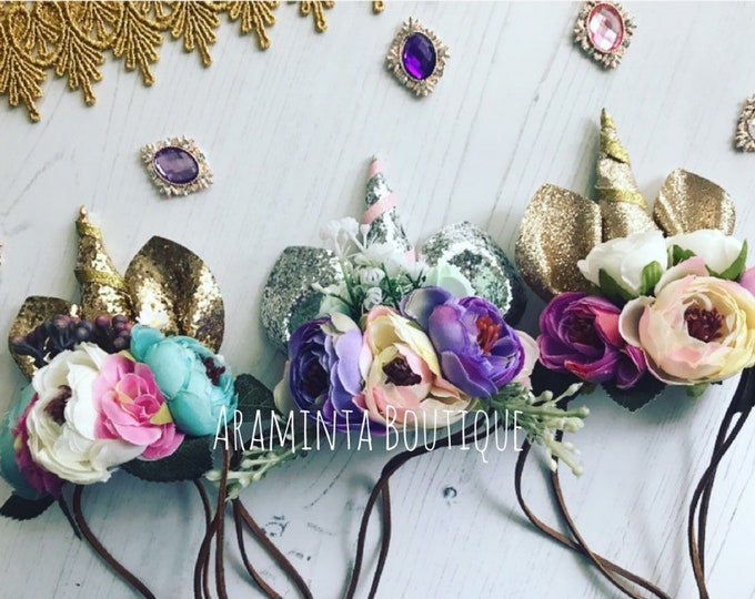 Unicorn Headband, Gold, Silver & Pink Sparkle,Cake Smash, Girls Birthday, Flower Headband, Photo Prop, Party,Dress up, 1st Birthday hat
