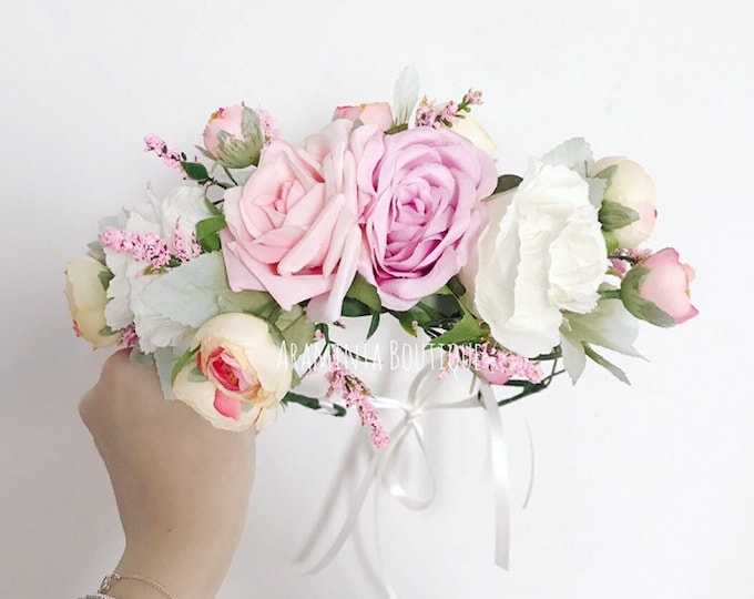 Rose PRIMROSE flower crown, pink and white flower crown, spring flower crown, floral headband, flowergirl headband, floral headpiece, brides
