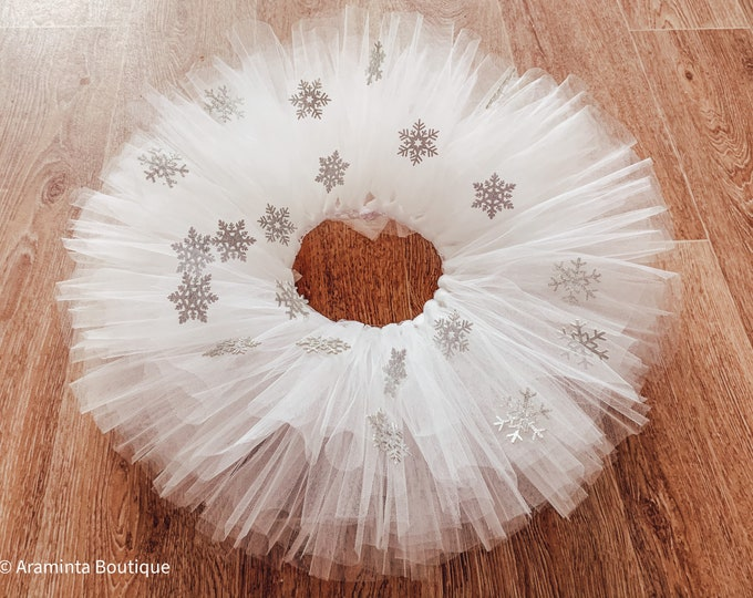 Snowflake white tutu, Christmas skirt, Christmas outfit, snow princess tutu, winter tutu skirt, tulle fluffy tutu, sparkle tutu