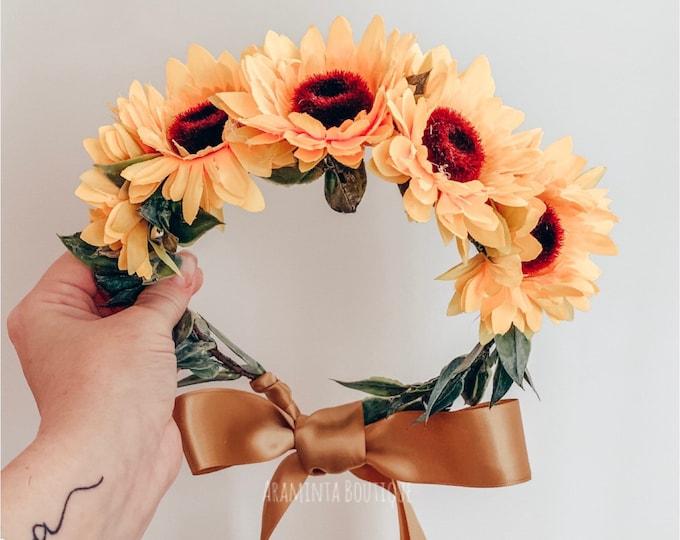 SUNFLOWER floral crown, yellow flower crown, boho wedding crown, flower girl crown, floral hairpiece, flower garland