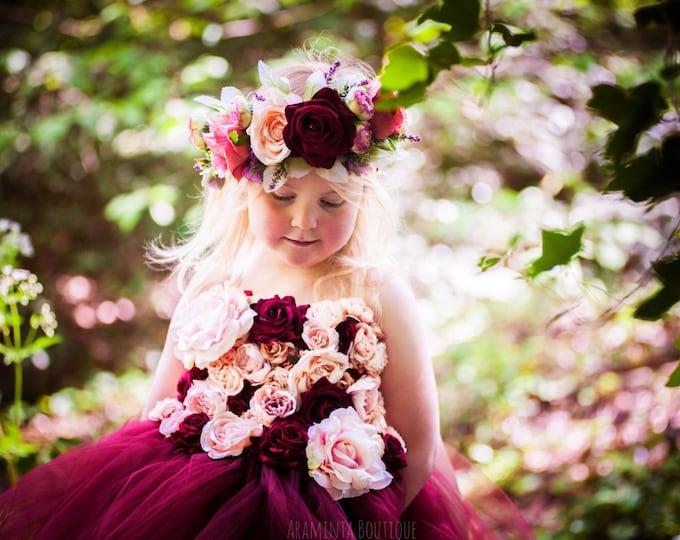 Girls ROSE flowergirl tutu dress, flower tutu dress.Fairy tutu costume. Bridesmaid,Birthday tutu, princess tutu