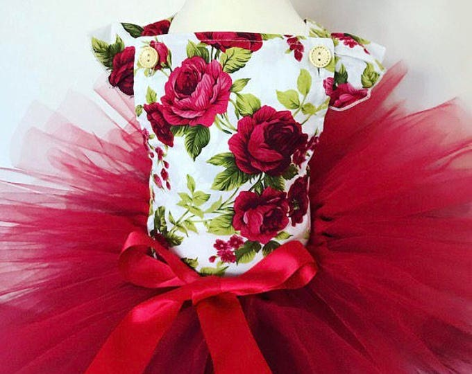 Floral baby romper and tutu set, baby romper, baby outfit, red tutu,baby set, cakesmash outfit, first birthday outfit