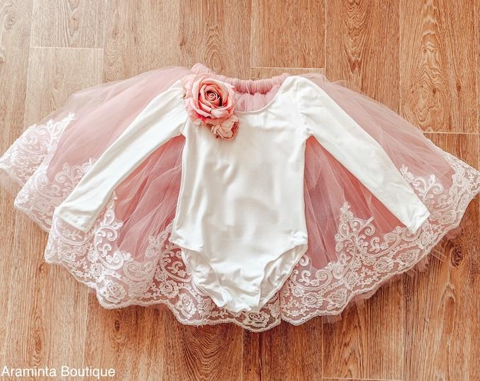 Floral bodysuit long sleeve jersey white leotard. Rose leotard, romper, girls bridesmaid & flower girl bodysuit