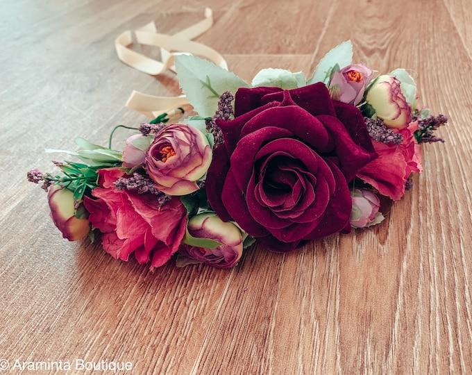 Rose flower crown, Red rose flower crown, pink and res flower crown, floral headband, flowergirl headband, floral headpiece, bridesmaid