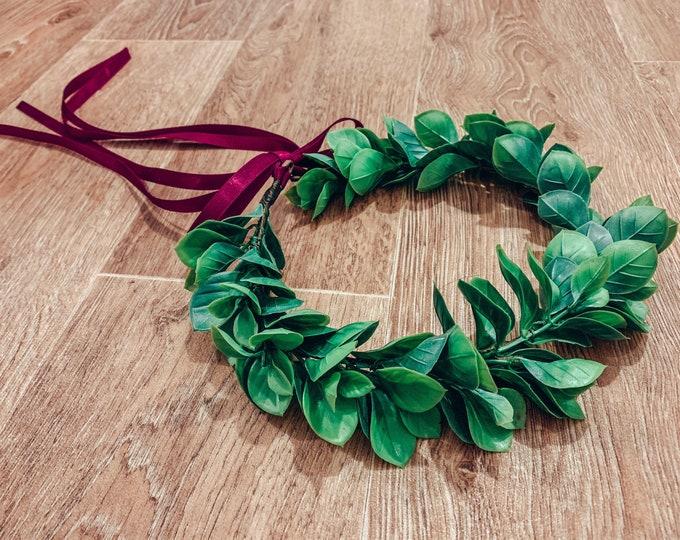 EDEN Green leaf wreath headpiece, Christmas leaf flower crown,laurel leaf crown, boho wedding, flowergirl crown, bridesmaid crown