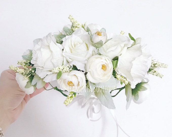 Rose BLANCA flower crown, white flower crown, spring flower crown, ivory floral headband, flowergirl headband, floral headpiece, bridesmaid